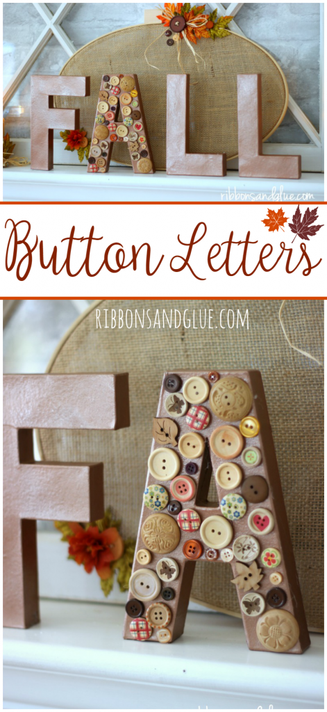 Fall Button Letters made from spray painted paper mache letters and wood buttons