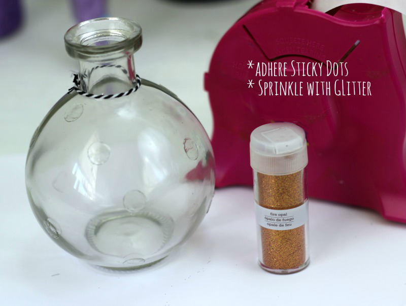 How to make Halloween Candy Glitter Jars with sticky dots