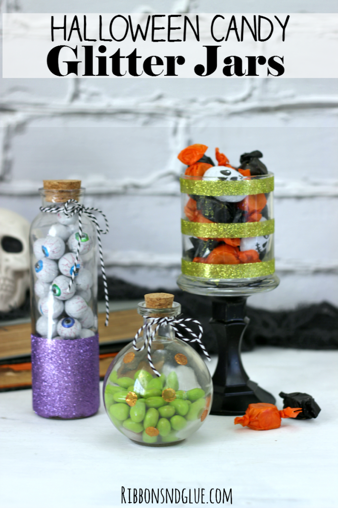 Create DIY Halloween Candy Glitter Jars out of empty glass jars, glitter and adhesive. Spooky cute to fill up with candy for Halloween. #StickItToLint #cbias #ad @walmart