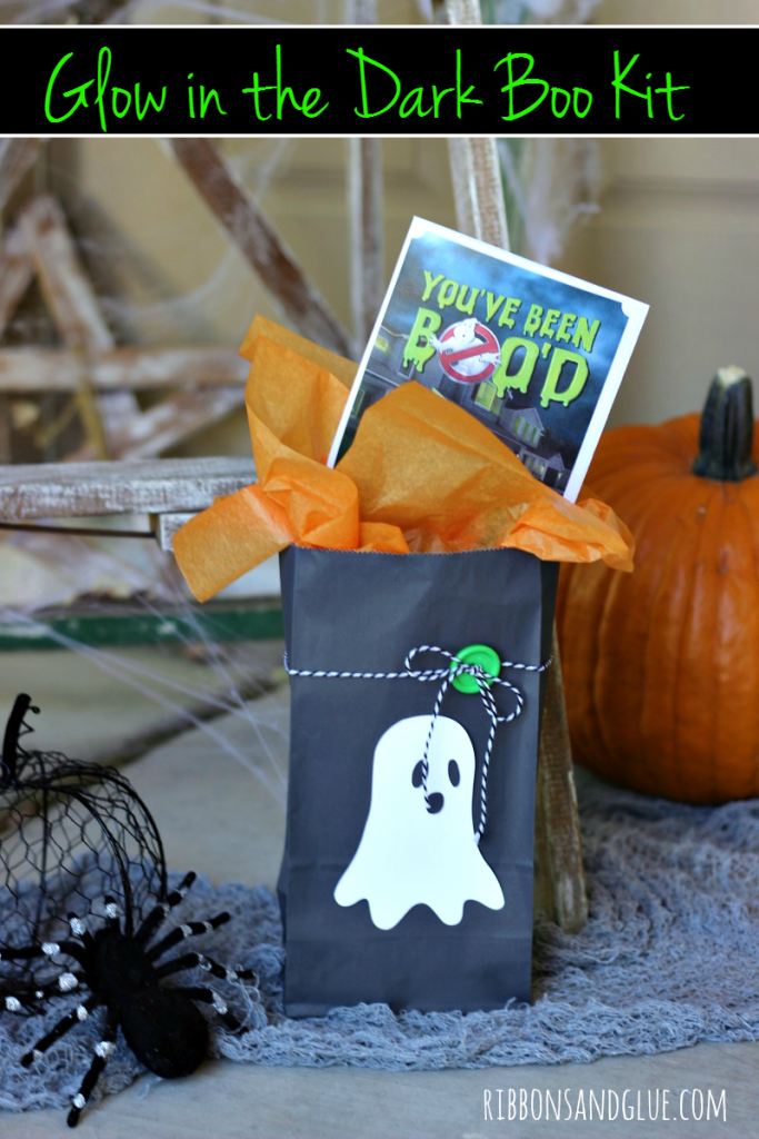 Glow in the Dark BOO Kit made with glow in the dark heat transfer vinyl and free BOO'd printable. #BOOItForward #cbias #ad #walmart