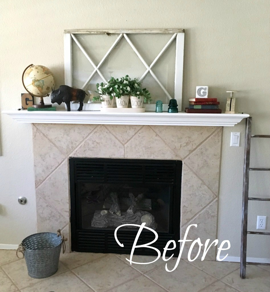 Simple and Temporary Fireplace Makeover in a rental house