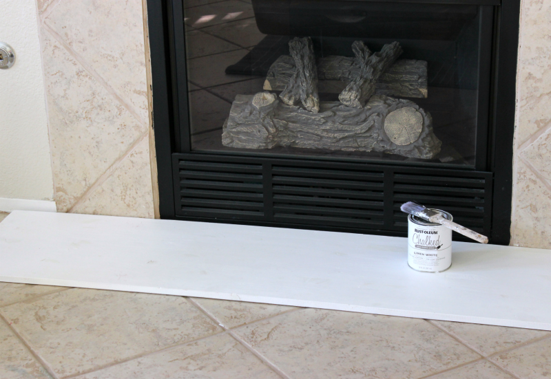 painted wood board faux fireplace hearth