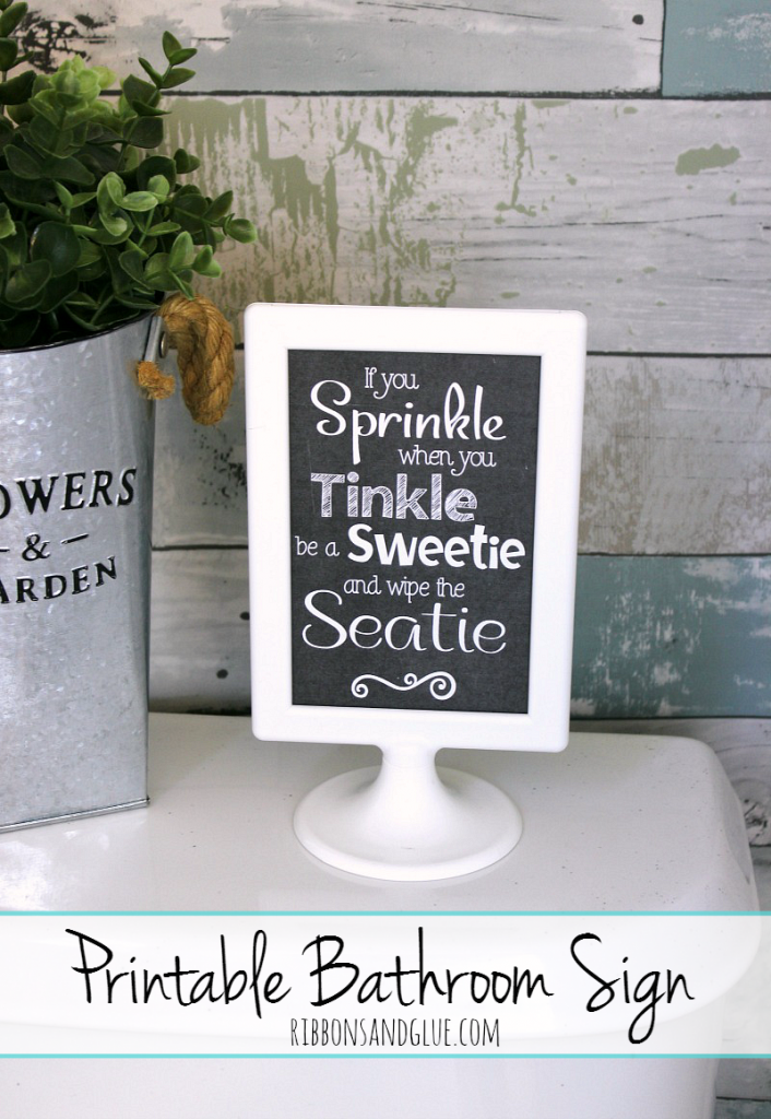 Printable Bathroom Sign encouraging your guests to leave your toilet sparkly clean. #GetUnderTheRim #ad @target