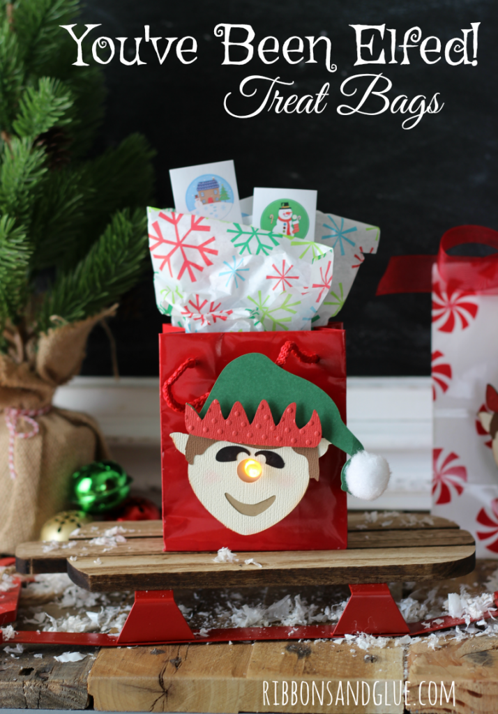 You've Been Elfed! 3d Elf Tealight Treat Bags filled up with Holiday Treats to brighten up the holidays. #MerryAndBright #ad @walmart #americangreetings
