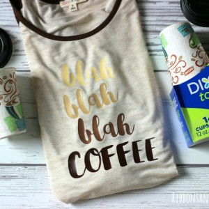 DIY Coffee Shirt in a Cup made with heat transfer vinyl and giving inside a @Dixie To Go Coffee cup.