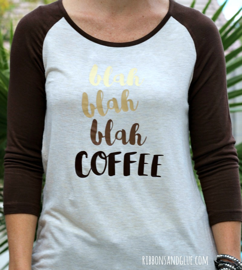 DIY Coffee Shirt in a Cup made with heat transfer vinyl.