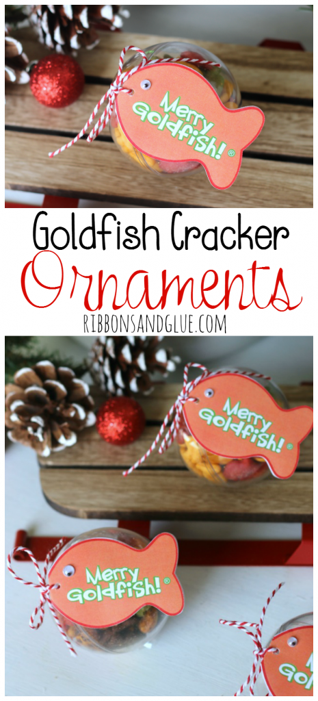 Goldfish Cracker Christmas Ornaments. Fill plastic ornaments with Goldfish Crackers then print off Merry Goldfish Tags.