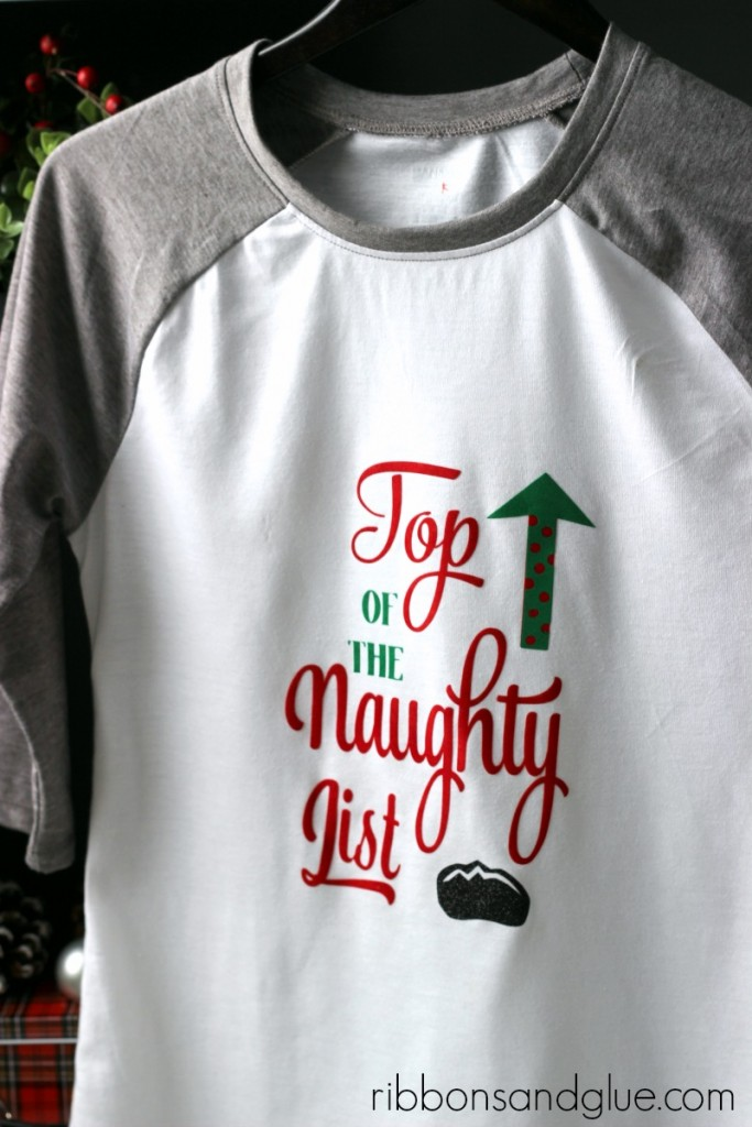 Naughty List Christmas Shirt made with flocked heat transfer vinyl