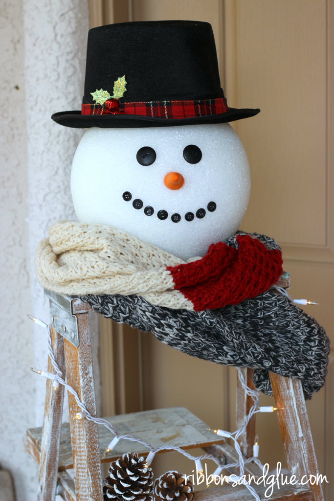 Frosty the Snowman Head made from large FloraCraft foam ball.