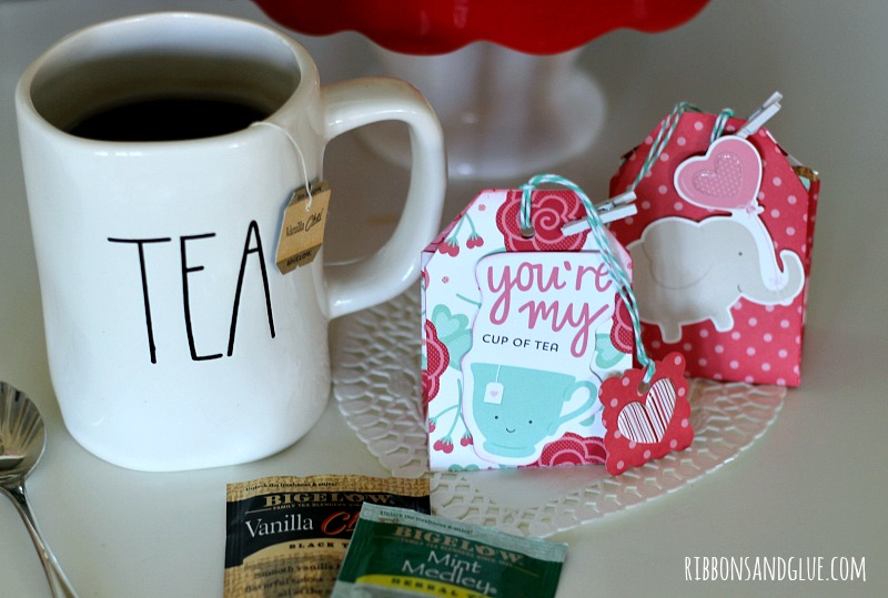 You're My Cup of Tea Valentine Tea Bags made with Valentine's paper filled with Bigelow Tea Bags. Rae Dunn Tea Mug