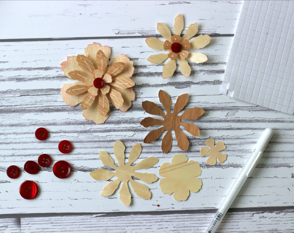 Wood Paper Flower layers