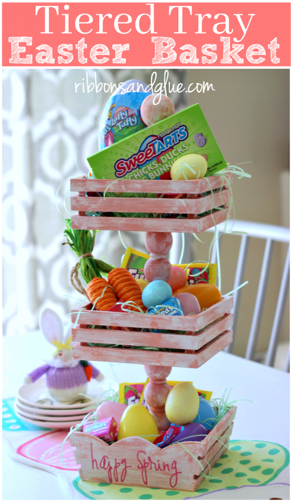 Tiered Tray Easter Basket made from painted wood crates and dowels. Creative way to show off Easter Candy on the family table . #SpringItOn #NestleKitchen @nestle #ad