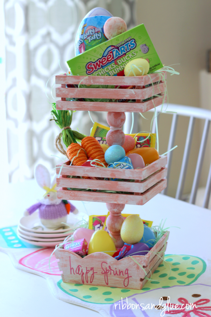 Easter Basket Tiered Tray is a creative centerpice idea to fill up with Easter candy