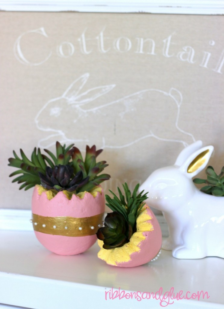 Easter Egg Faux Succulent Planter made from a foam egg and faux succulents