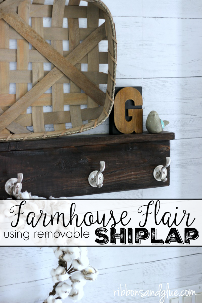 Crate Farmhouse Flair using Removable Shiplap wallpaper from Wallpops! #GladeAtmosphereCollection #ad @kroger