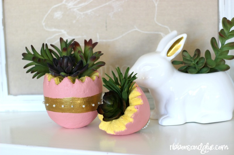 Easter Egg Succulent Planter made out of a foam egg and faux succulents