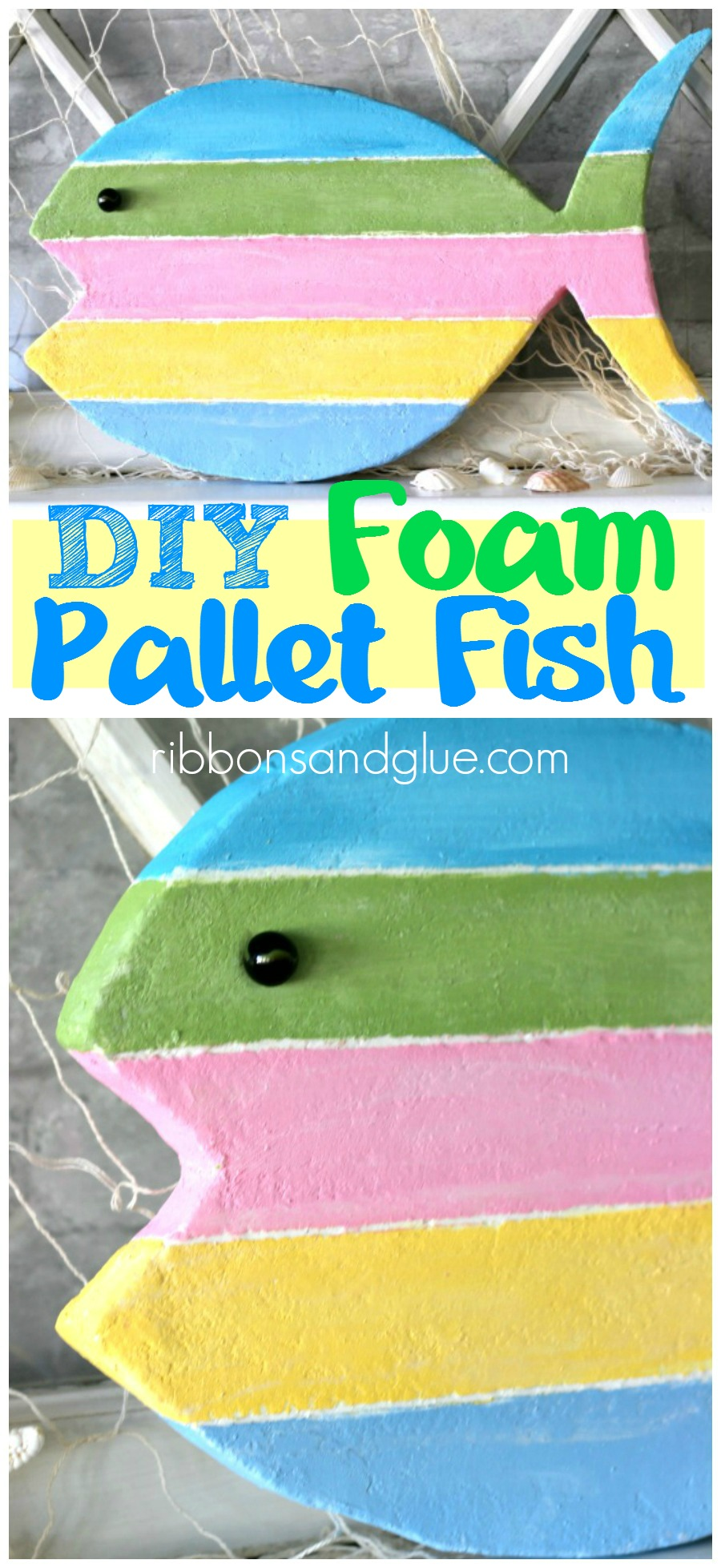 DIY Foam Pallet Fish cut out of a foam sheet and painted to look like Key West inspired pallet wood . #MakeitFunCrafts