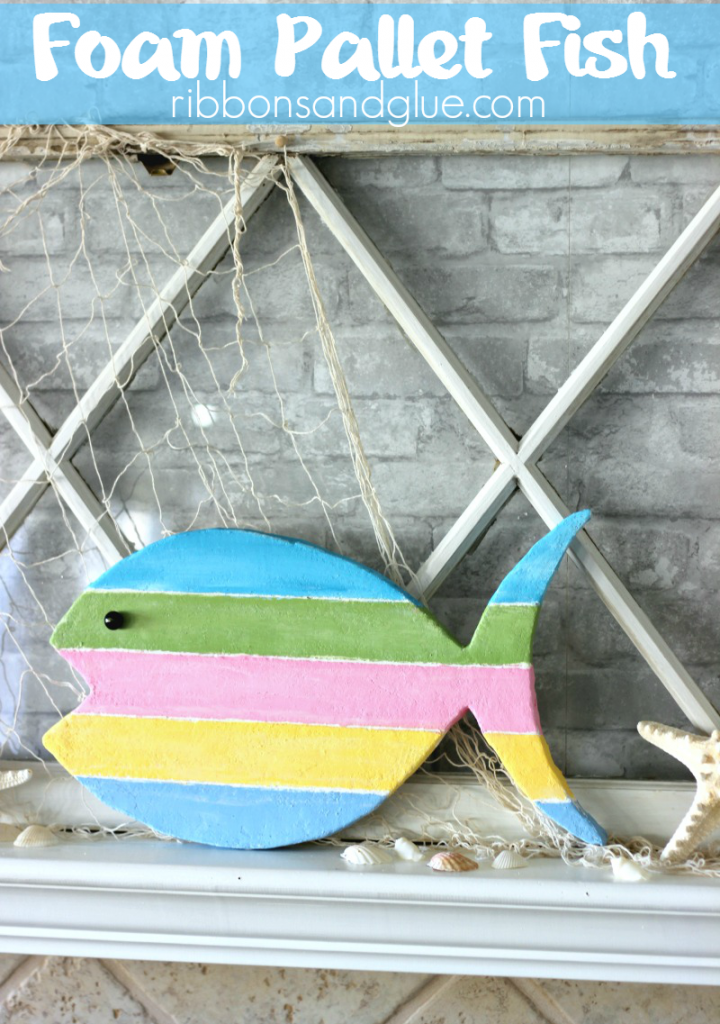 DIY Foam Pallet Fish cut out of a foam sheet and made to look like real beach pallet wood. #MakeitFunCrafts