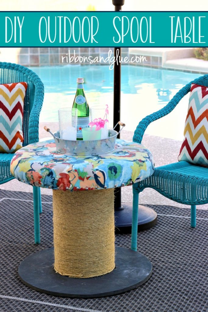 Turn a wooden spool in to an DIY outdoor side table or seat made with outdoor fabric and rope. #ForWhatMattersMost #ad @target