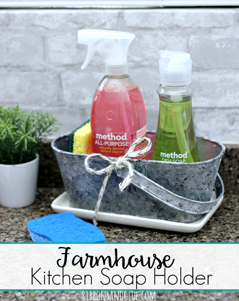 Farmhouse Kitchen Soap Holder distressed with a faux galvanized finish. #CleanMyWay #TeamSponge #ad @krogerco