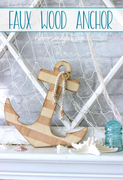 Nautical Faux Wood Anchor