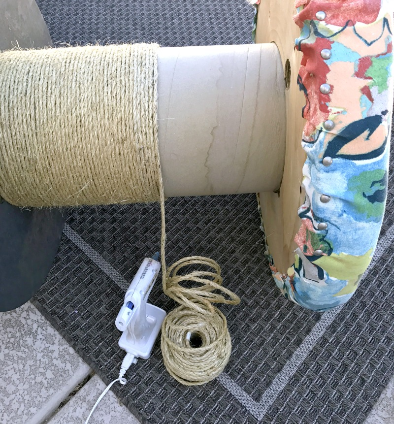 How to make a DIY Outdoor Spool Table out of a wooden spool.