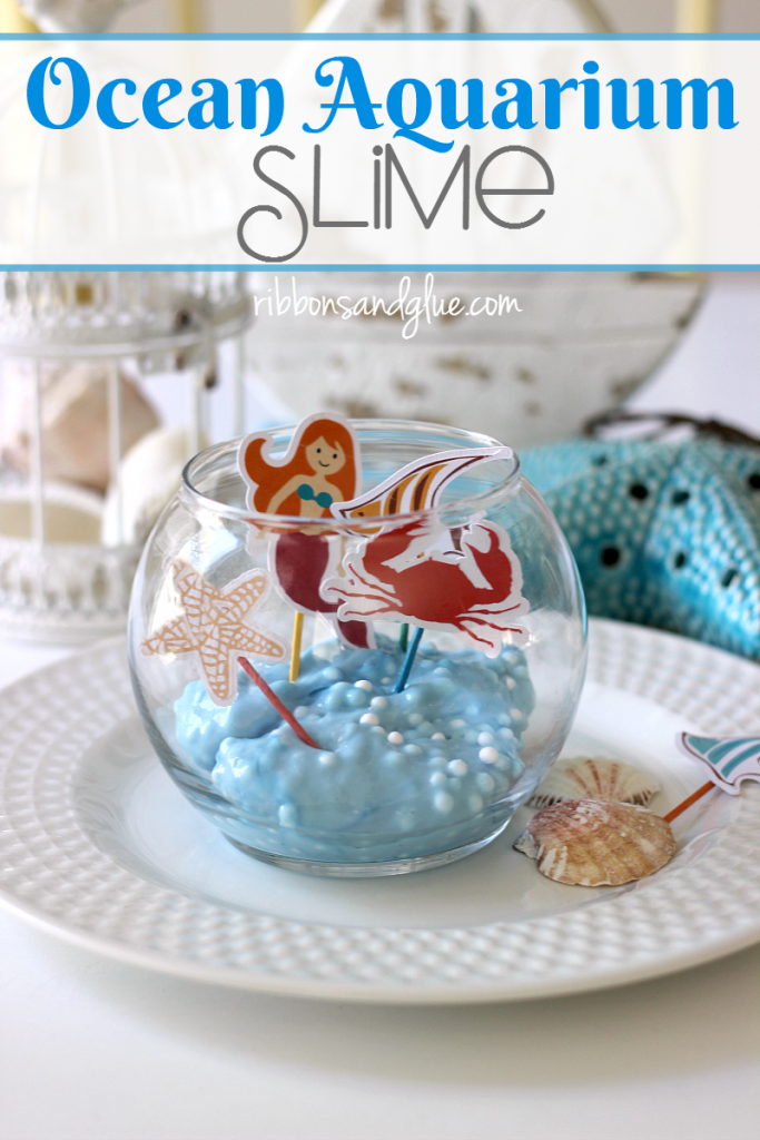 Bring the ocean inside this Summer by creating Ocean Aquarium Slime made with liquid starch, glue and slime balllz.