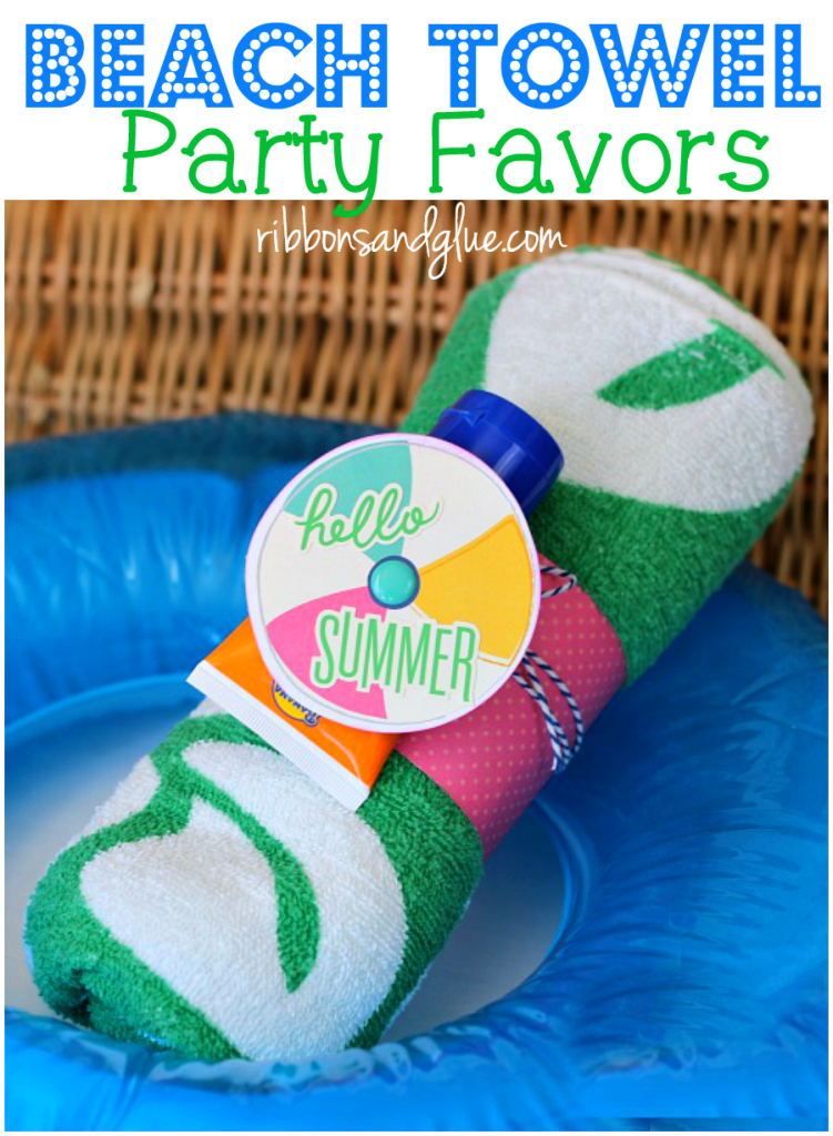 Beach Towel Pool Party Favors made with a beach towel, sunscreen and scrapbooking paper