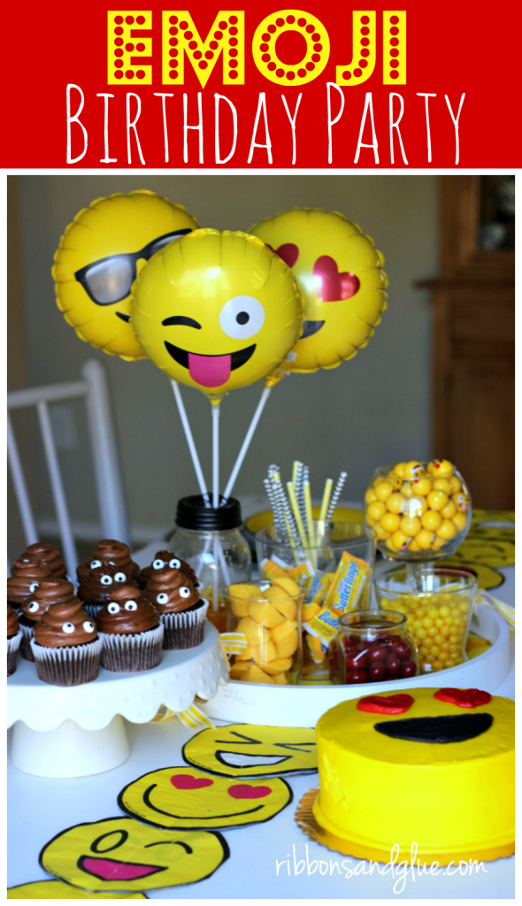 Emoji Birthday Party Table complete with emoji party decorations, yellow candy, DIY table runner and Poop emoji cupcakes
