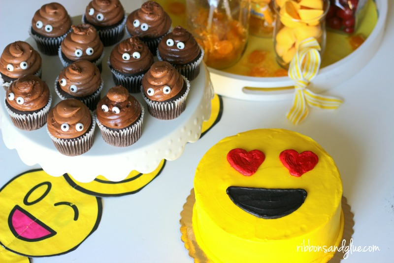 Emoji Poop cupcakes and emoji cake