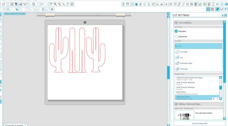 3D Cactus silhouette cut file