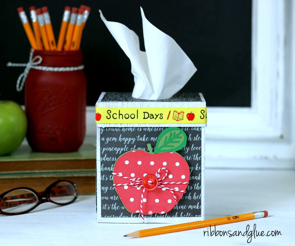 Classroom Tissue Box perfect for the Teacher's Desk. Cute tissue box cut file cut with Silhouette.