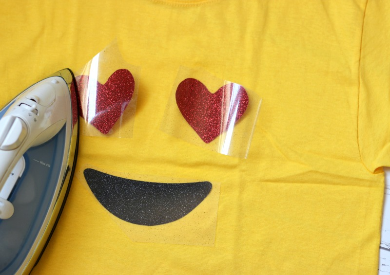 Easy emoji costume made with heat transfer vinyl