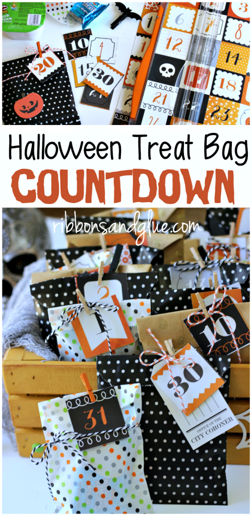 Countdown the excitement of Halloween by making a Halloween Treat Bag Countdown filled up with lunch box sized treats.