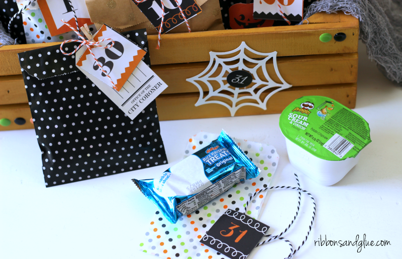 Halloween Treat Bag Countdown filled up with lunch box sized treats.