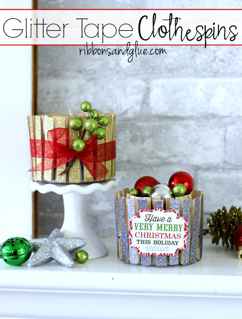 Glitter Tape Clothespins are easy simple craft to make to use at Christmas time and through out the year. #ad #EverydayCraftMoments @walmart @scotchproducts