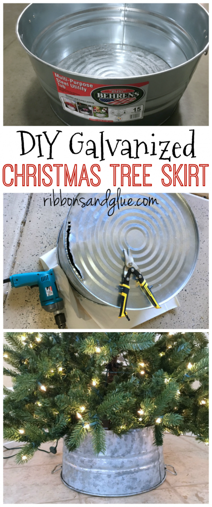 Easy Galvanized Bucket Christmas Tree Skirt made out of a steel bucket. Perfect for any rustic Christmas look