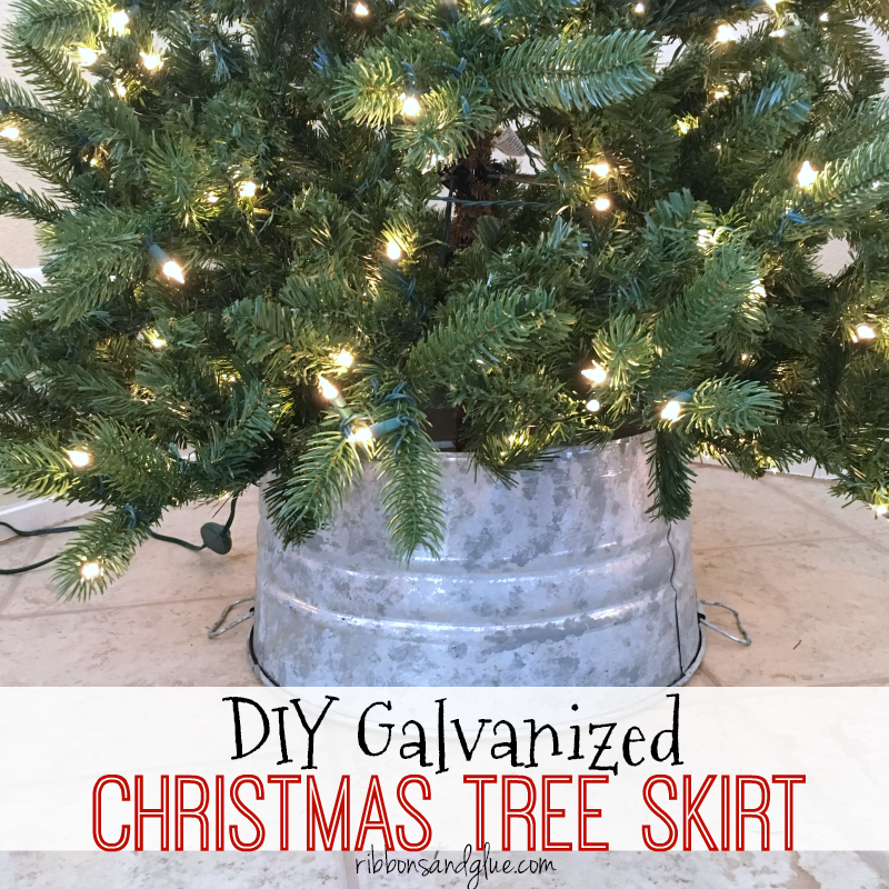 DIY Galvanized Christmas Tree Skirt made out of steel bucket