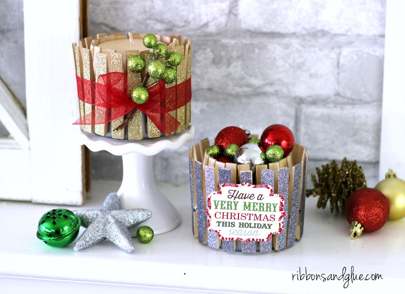 Glitter tape clothespin decor for Christmas