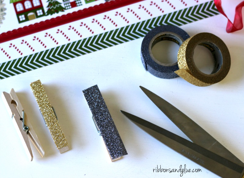 How to make glitter tape clothespins