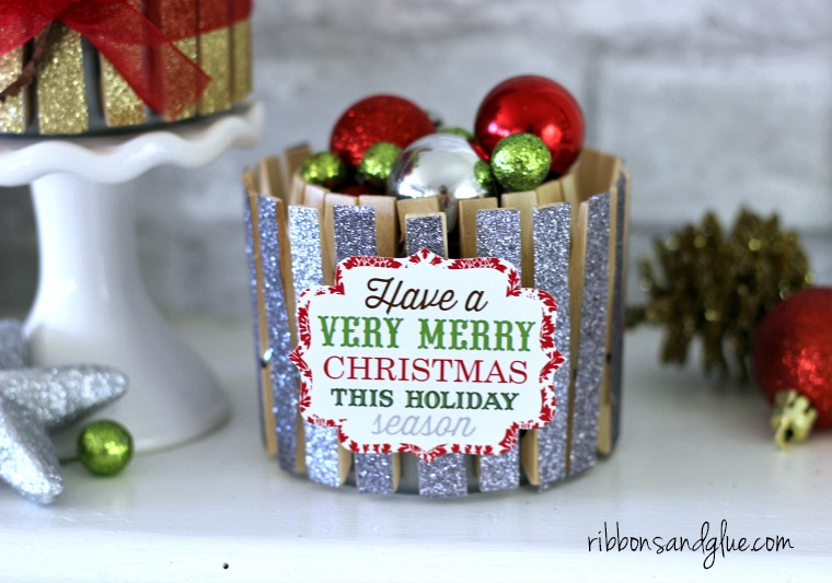 Glitter tape clothespin Christmas decor