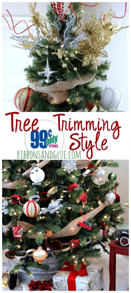 Trimming the Christmas Tree 99 Cents Only Style. Easy and inexpensive way to bring sparkle in to your holiday. #ad #doingthe99 #99yourholiday  @99centonly