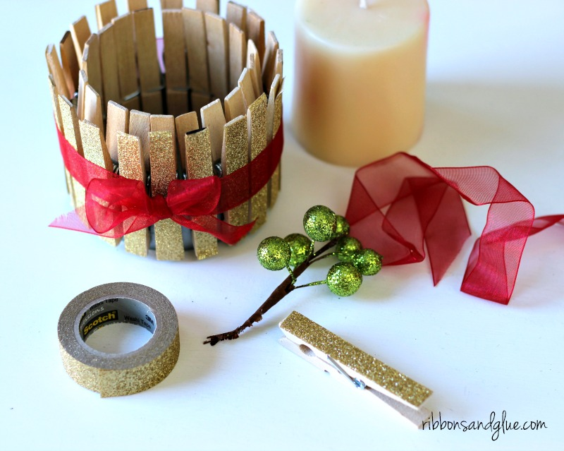 Gold glitter tape clothespin candle