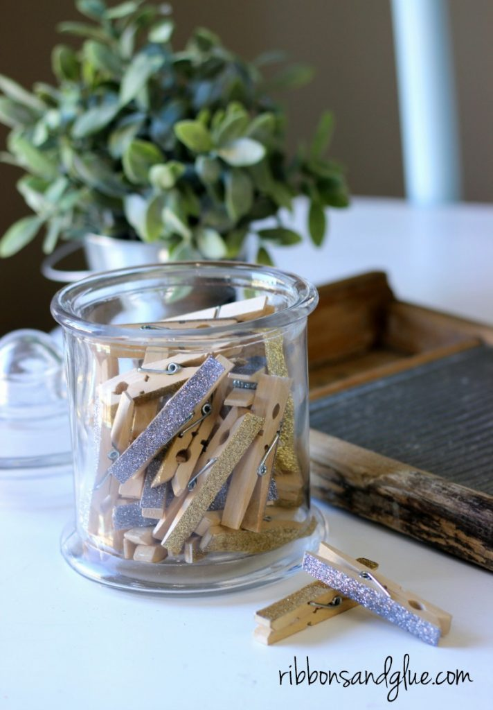 DIY Glitter tape clothespins for the laundry room