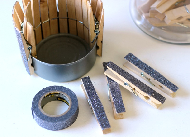 Upcycled clothespin craft using glitter tape