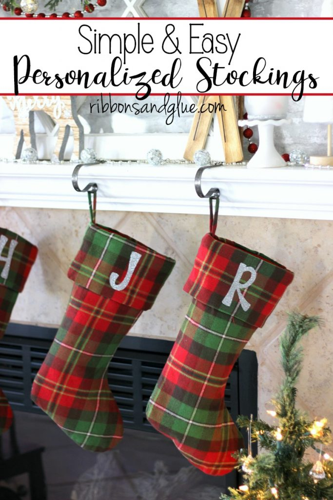 Easy and Personalized Christmas Stocking made with silver glitter heat transfer vinyl.