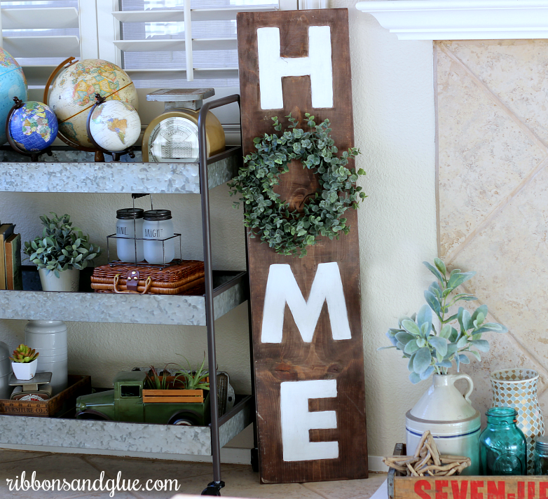 Farmhouse Home Sign and Rustic Vignette