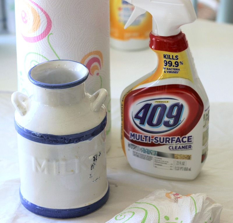 Use 409 Cleaner to remove sticky residue off thrifted items