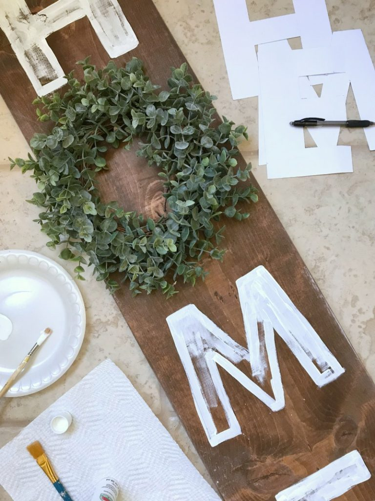 Farmhouse Home Sign and boxwood wreath