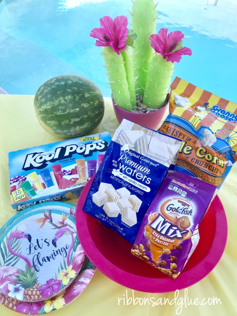 Pool party snacks from the 99 cent only store